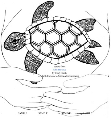sea turtle henna design pregnant belly