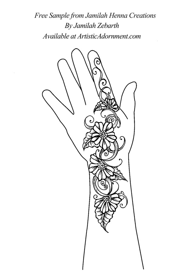 free intricate realistic shaded flower henna design