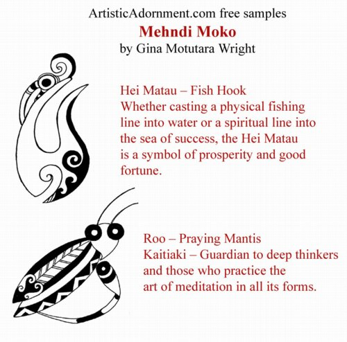 Free Tribal Henna Tattoo Designs - Maori Mehndi Moko - Gina Motutara Wright - Roo Praying Mantis - Hei Matau fish hook