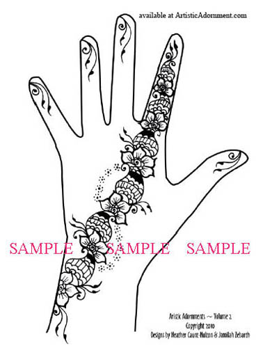 free simple arabic strip henna design flowers paisleys