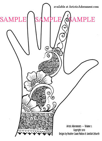 free flower paisley cuff henna design indo-western