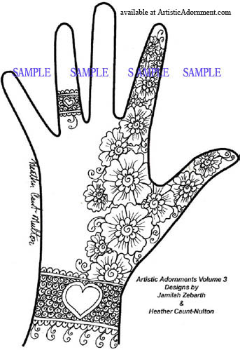Sample Henna Design with flowers and a heart bracelet, from Artistic Adornments vol. 2