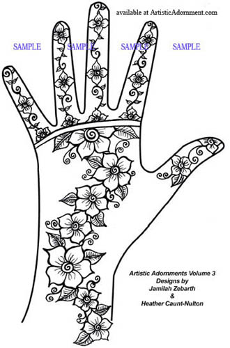 easy henna flower design free mehndi pattern