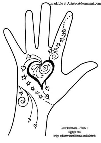 heart and star henna tattoo design for teenagers free pattern