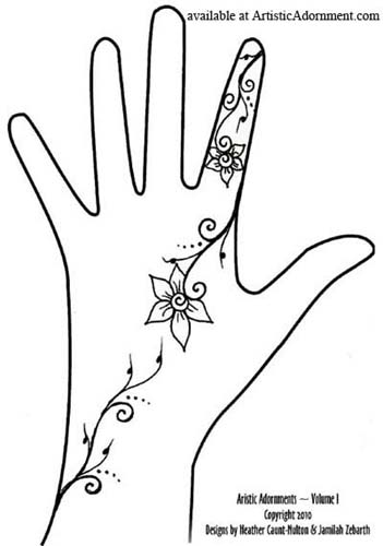 Simple Flower Henna Design for Festivals - Artistic Adornments vol 1 ebook available at ArtisticAdornment.com