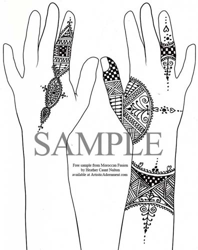 Free Moroccan Henna Design - Sample from Moroccan Henna Fusion by Heather Caunt-Nulton - ArtisticAdornment.com